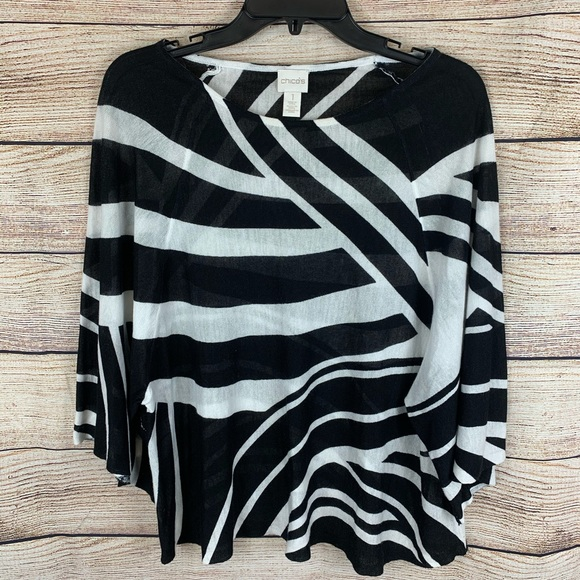 Chico's Tops - Chico's Black and White Oversized Poncho Top Sz S